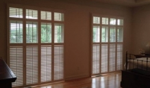 Photo Of Natural Wooden Window Treatment With Vertical Fabric Backing In NJ - Speedwell Design Center