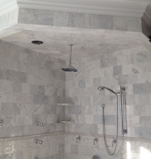 Photo Of White And Grey Tile Flooring Installed On Shower Walls In NJ Home - Speedwell Design Center