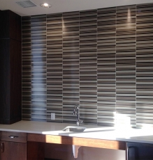 Photo Of Horizontal Striped Tile Flooring Used As Backsplash In NJ Kitchen - Speedwell Design Center