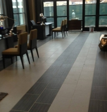 Photo Of Striped Tile Flooring In NJ Office - Speedwell Design Center