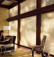 Photo Of Semi-Translucent Blinds For The Whole Window With Wooden Slats And Metal Fixtures In NJ - Speedwell Design Center