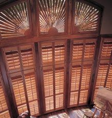Picture Of Interior Shutters With Thin Wooden Slats And Decorative Transom Treatments In NJ - Speedwell Design Center