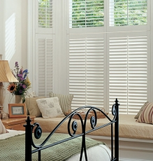 Photo Of Interior Window Shutters In White With Matching Transom Treatments In NJ - Speedwell Design Center