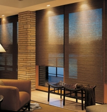 Picture Of Motorized Natural Grass Window Treatments With Lighting In NJ - Speedwell Design Center