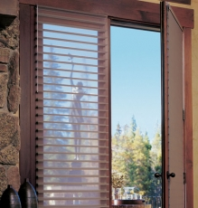 Picture Of Seamless Wooden Slatted Interior Shutters For The Back Doors In NJ - Speedwell Design Center