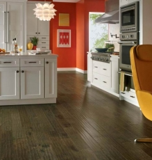 Dark Hardwood Flooring In Kitchen Area In NJ Image - Speedwell Design Center