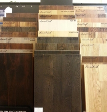 Dark Wood Flooring Sample In NJ Showroom Image - Speedwell Design Center