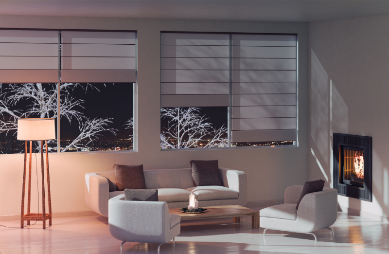 Living room with modern blinds