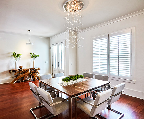 dining room with shutters
